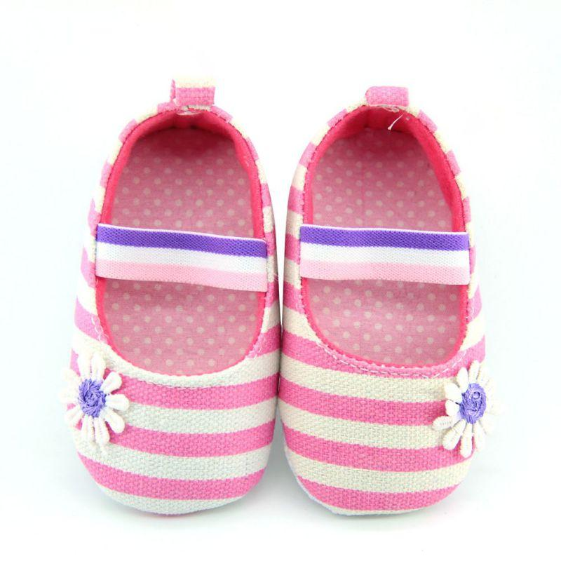 Wholesale- New StylishNewborn Baby Girls Flower Cotton Shoes Soft Soled Striped Crib Shoes Age 0-18M New