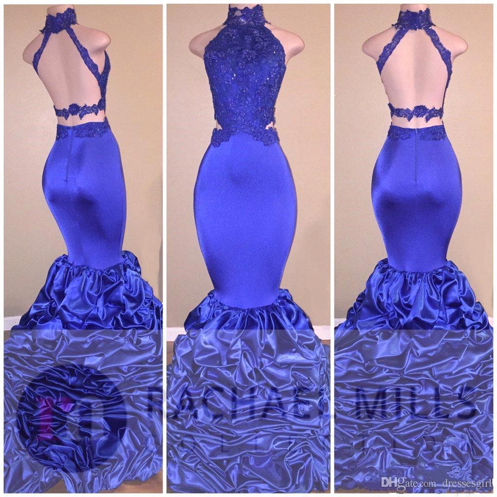 우아한 Dubia Afrabic 로얄 블루 댄스 파티 드레스 높은 목 섹시 오픈 다시 루치 스윕 트레인 Appliques 이브닝 드레스 스팽글로 공식