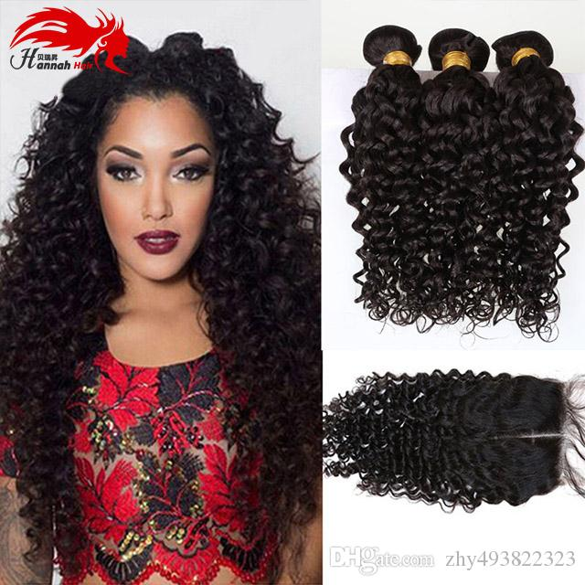 Hot Selling Hannah Products Wave Hair Extension Virgin Peruvian Hair Bundle With Closure Mix Size Free Shipping Human Hair