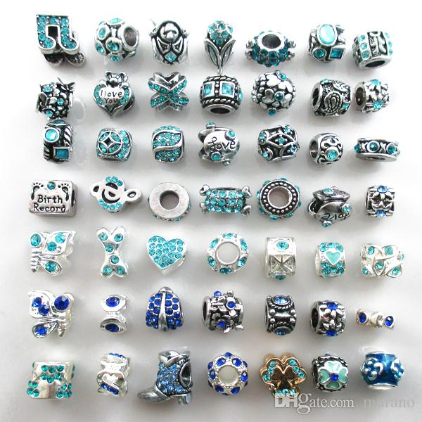 Fits Bracelets Wholesale Beads Silver Plated Crystal Charms Big Hole Loose Beads For Diy European Bracelets
