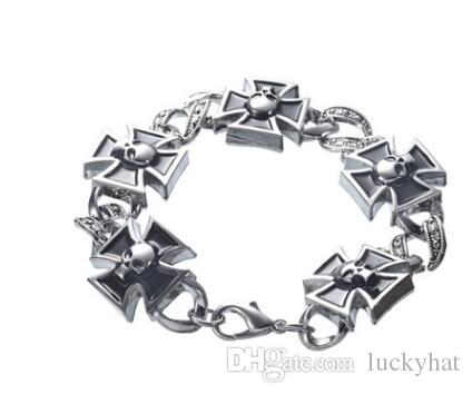 6 unids / lote venta caliente pulsera de acero inoxidable de los hombres unisex cruz de acero de titanio serie brazalete de la pulsera brazalete personalidad retro joyería punky