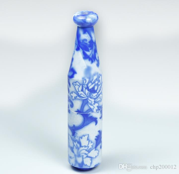 METTLE venta 78MM personalidad longitud de la tubería de cerámica pipa de fumar porcelana azul y blanca 4103-1