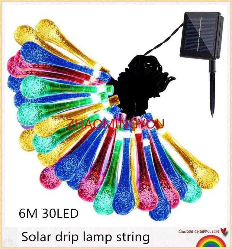 30шт 6м 30 LED Солнечной рождественские огни 8 режимы водонепроницаемый капли воды солнечные Фея огни строки для Открытый сад