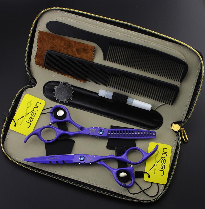"""5.5 """"6.0"""" Jason JP440C Forbici per capelli Cesoie professionali per parrucchiere Kit Forbici da taglio Forbici con borsa Forniture per negozi di barbiere, LZS0555"""