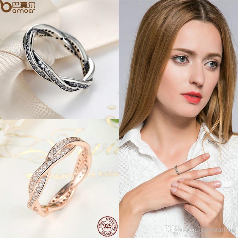 Authentique 100% 925 Bague en argent sterling en or rose Pave amour éternel avec Tressé anneau de cristal Compatible avec des anneaux de mariage de bijoux Pandora