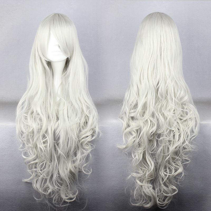 MCOSER Affascinante nuovo prodotto Silvery White Angel Sanctuary Rosiel 90cm parrucca lunga ondulata capelli delle donne Cosplay Spedizione gratuita