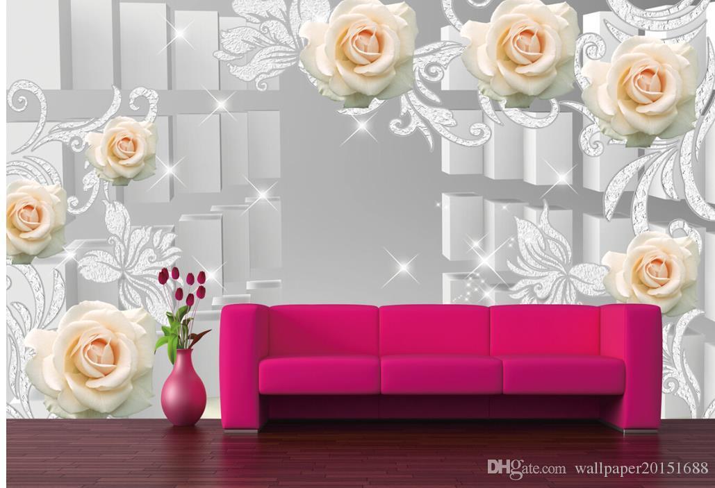 Rose pattern 3d caixa espaço tv fundo papel de parede mural mural 3d papel de parede 3d papéis de parede para tv pano de fundo