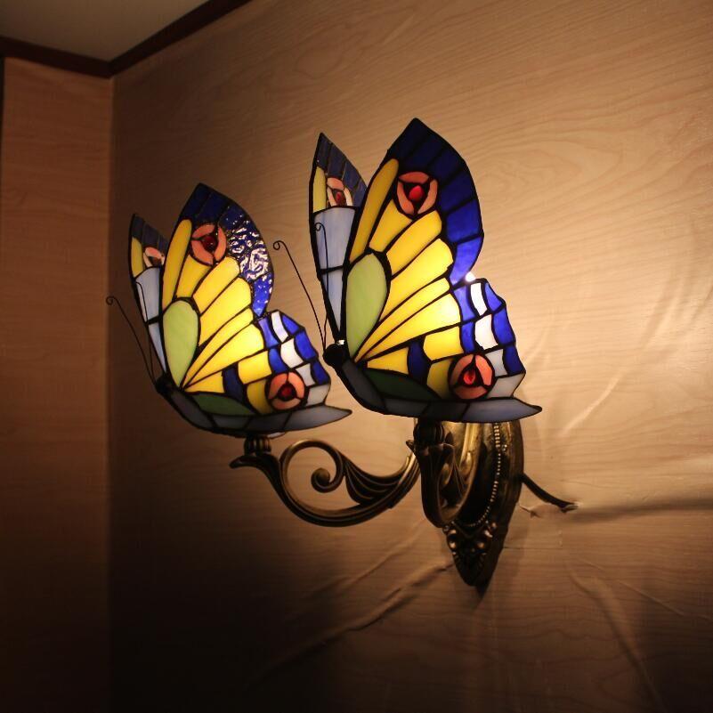 2019 Tiffany Butterfly Wall Color Glass Creative Lamp Bedroom Bedside  Nightlight European Garden Lighting Bar From Hcfwjsw1314, $87.44 |  DHgate.Com