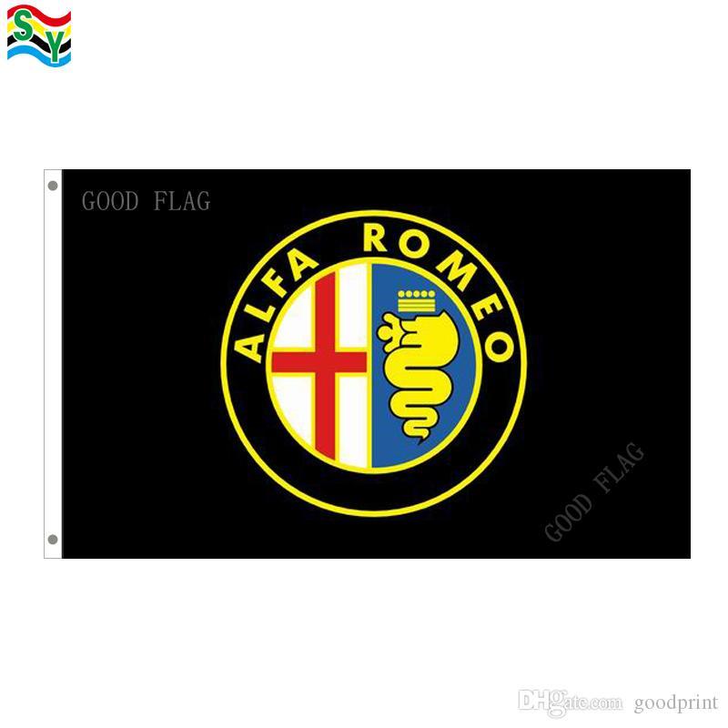 Bandiera Alfa Romeo logo banner Dimensioni 3x5FT 90 * 150cm con occhiello in metallo, bandiera esterna