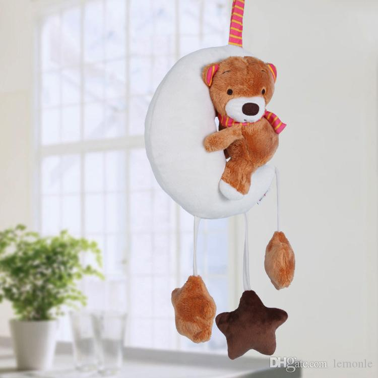 Moon Bear Baby Stroller Hanging Rattle Toys Plush Mobile Infant bed Toys Lather Crib Music Car Hanging