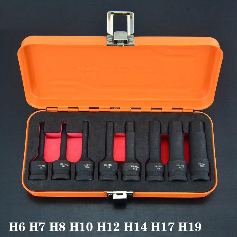 Clé pneumatique étirement hexagonale 12.5mm chrome molybdène alliage en acier outil vent douille pistolet tête douille douille air douille 1/2 pouce