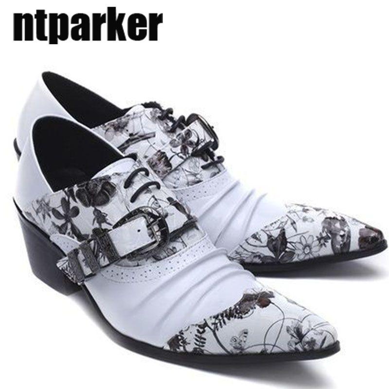 Taglie forti 45 46 Scarpe uomo Zapatos Hombre ITALY Style scarpe a punta tacco alto da uomo scarpe da uomo in pelle stampa affari