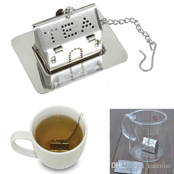 50PCS Love House Design Stainless Steel Tea Infusers Eco-friendly Tea Strainer in Organza Bag Wedding Party Giveaways Gift FREE SHIPPING