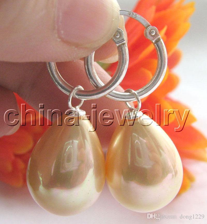 orecchino d'argento 925 dell'orecchino della perla della conchiglia del mare del sud di colore naturale