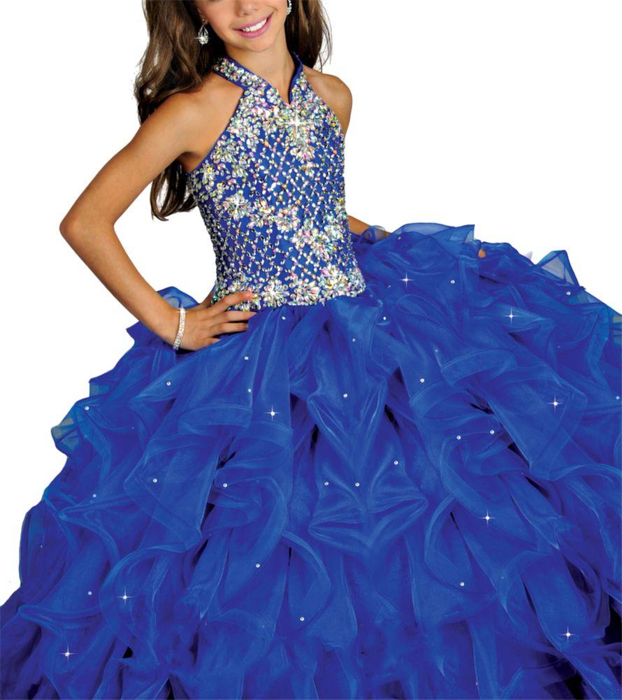 Royal Blue Junior Halter Gowns Girls Beaded Pageant Dresses Kids