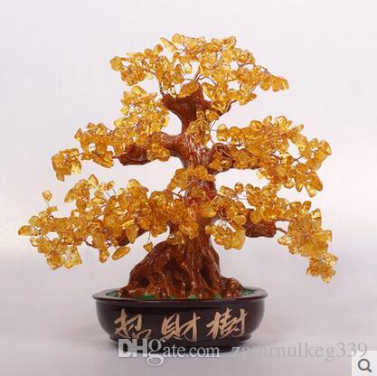 Beautiful Office living room creative small Decoration Crystal Lucky tree opened