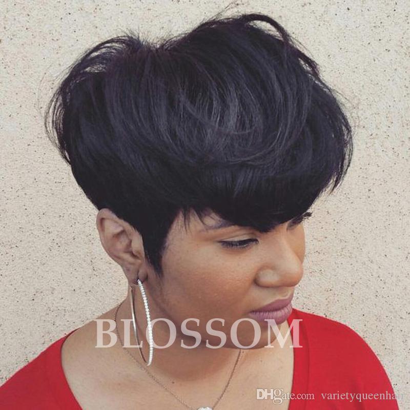 Glueless полный шнурок человеческих натуральных волос парики бразильские Девы вырезать волосы короткие кружева фронт человеческих волос парики для черных женщин