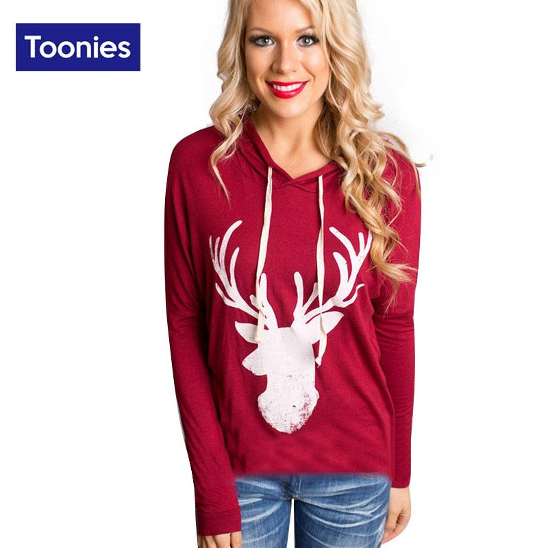 Wholesale- 2016 Hot Women's T Shirts Christmas Tee Long Sleeve Casual Loose Womens Cute Deer Printed Hooded Shirts Pullover Tops Plus Size