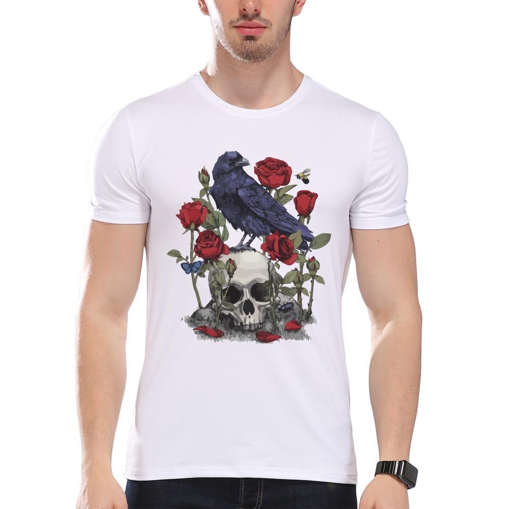 Мужская одежда тройники дешевые мужской череп и вороны печати футболка мужчины лето модальные хипстер тройники белый