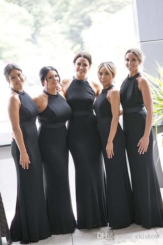 2017 New Sexy Simple Black Sleeveless Mermaid Bridesmaid Dresses Long Halter Satin Plus Size Mermaid Maid Of Honor Gowns For Wedding