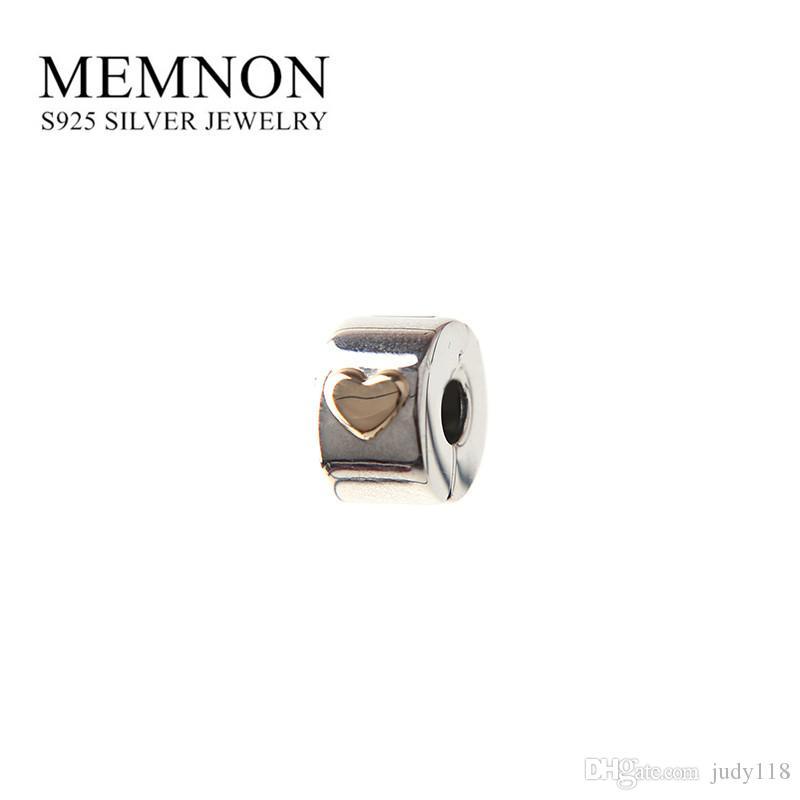 Día de la madre Classic Heart clip perlas de plata de ley 925 encantos del corazón de oro pulsera DIY regalo para la mamá Memnon Jewelry GD112