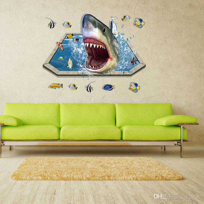 Hot New Fashion Special Design 3D shark Background Fashion Wall Stickers Home decoration Stickers free shipping