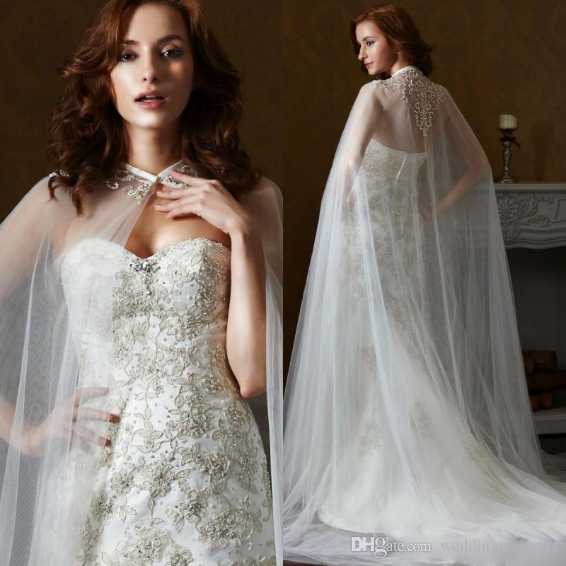 New Fashion Wedding Jackets White Lace Appliques Cloak Cape Beautiful Wedding Wrap Bridal Jackets Wedding Accessories Cheap Free Shipping