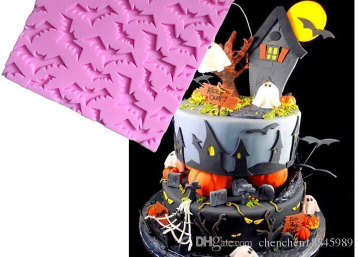 Halloween all'ingrosso pipistrelli liquido silicone fondente pizzo stampo 3D sapone candela cioccolato caramelle torta decorazione polimero argilla cottura fai da te