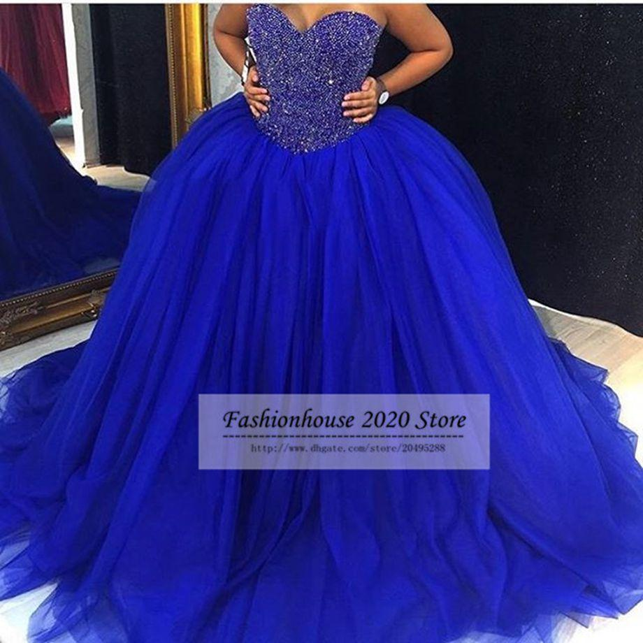 2020 New Cheap Royal Blue Puffy Tulle