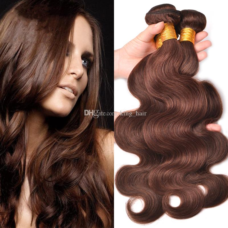 Onda del cuerpo humano del pelo humano de la Virgen malasia trama del pelo humano de Brown marrón medio Extensión del pelo ondulado # 3 3pcs para la mujer