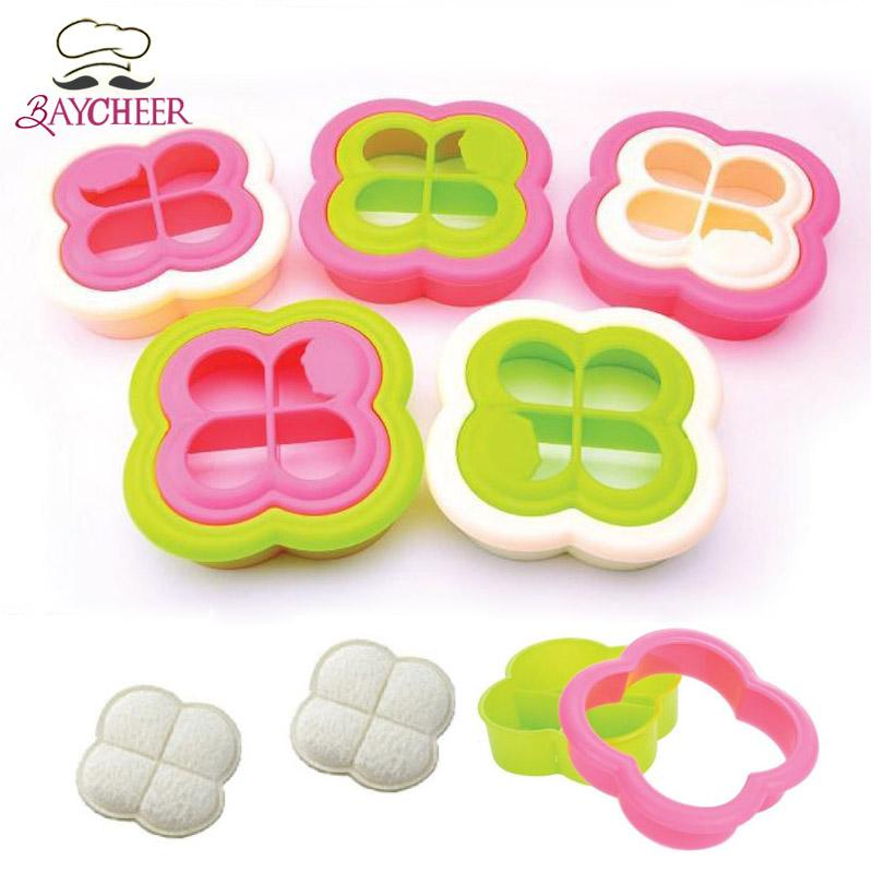 10PCS DIY Breakfast Clover Shaped Sandwich Maker Bread Bun Cookie Sushi Mold Mould Toast Cutter Creative Home Kitchen Tools