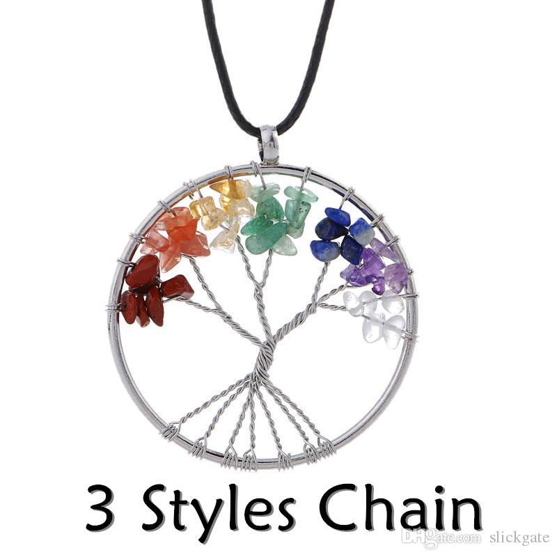 Rainbow 7 Chakra Pendant Necklace Amethyst Tree Of Life Quartz Chips Multicolor Wisdom Tree Natural Stone Women Necklace B160S