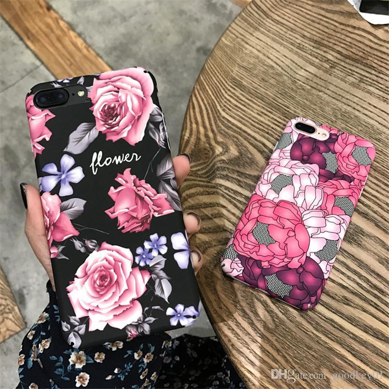 ل فون 6 6 ثانية 7 8 زائد حالة الحالات الهاتف الأزياء الزهور الأسود متجمد البلاستيك غطاء حالة كابا كوكه