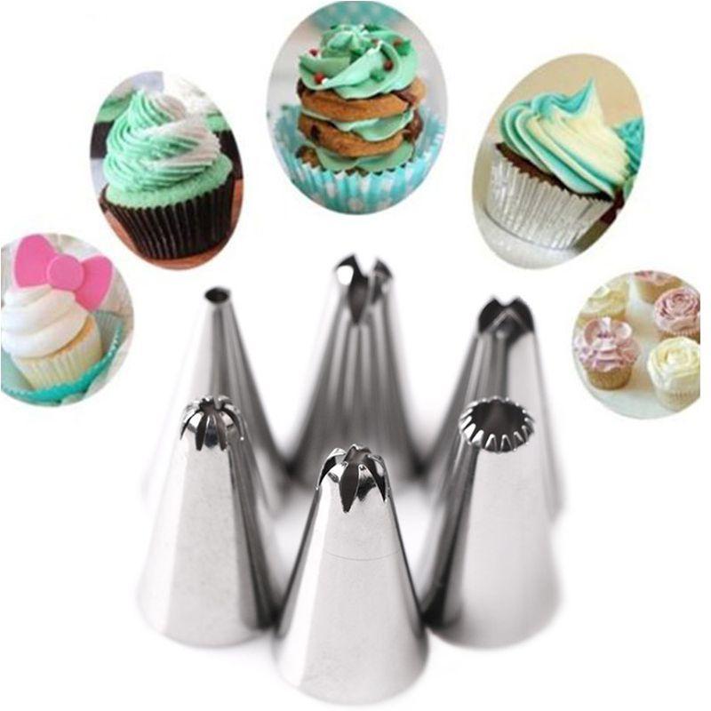 8pcset سيليكون الجليد الأنابيب كريم المعجنات حقيبة مع 6PCS الفولاذ المقاوم للصدأ فوهة 1PCS تحويل مجموعات كعكة DIY تزيين الخبز أداة خبز