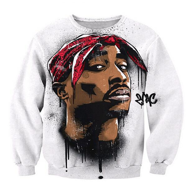 Mais recente moda Mulheres Homens 2pac tupac engraçado 3D Imprimir Crewneck Sweatshirt Moda Roupa Outfits Jumper casual tops WYS0018