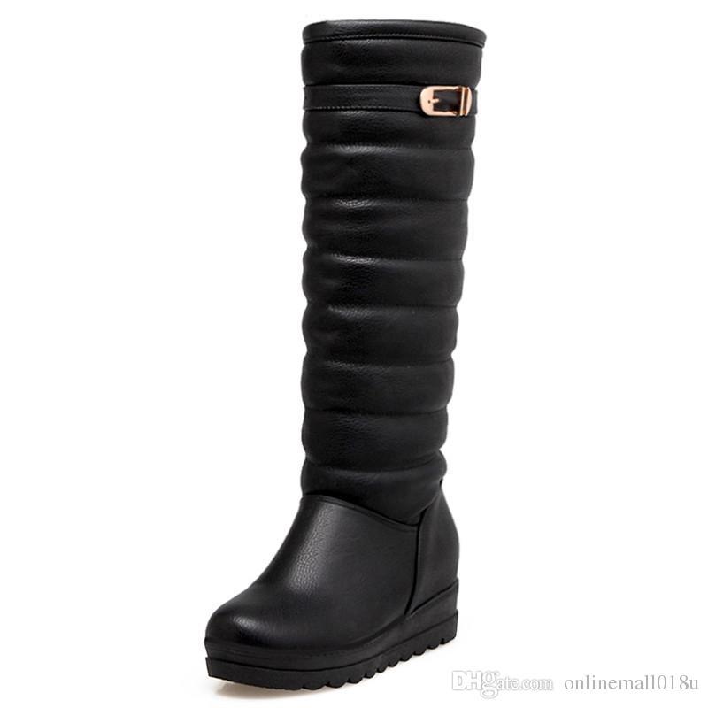 новая прибывающие ботинки женщин мода черные белых женские сапоги пряжка простых ботинкам снега элегантного колено высоко держать тепло внутри