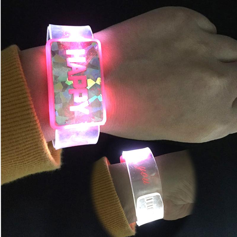 LED Flashing Bracelet Wrist Band Happy Luminous Watch Glowing Toys Gift for Kids Children Festive Bars Party Supplies