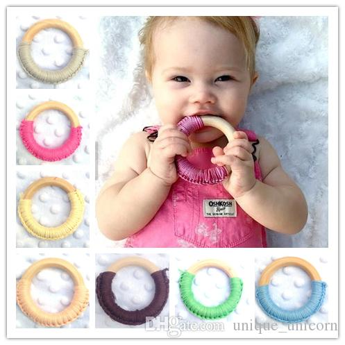 24 Colors Baby Teething Ring Safety Environmental Friendly Baby Teether Teething Ring Wooden Teething training Child Chews Baby Teeth Stick