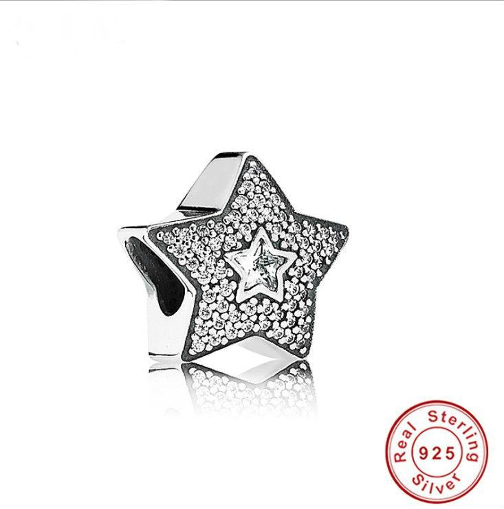 2020 echt förderung authentisch 925 sterling silber charme perlen passen original pandora armband diy stern weiß cz armband schmuck