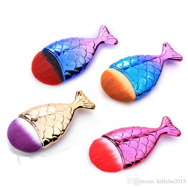 Mermaid Makeup Brushes Foundation Powder Contour Fish Scales Synthetic Hair Beauty Cosmetics Brush Make up Brushes Tools