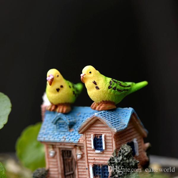 10 pz pappagallo fata Giardino in miniatura uccello mini jardins Gnomi accessori per la casa terrario aksesuar ornamento in resina artigianale decorazione della torta