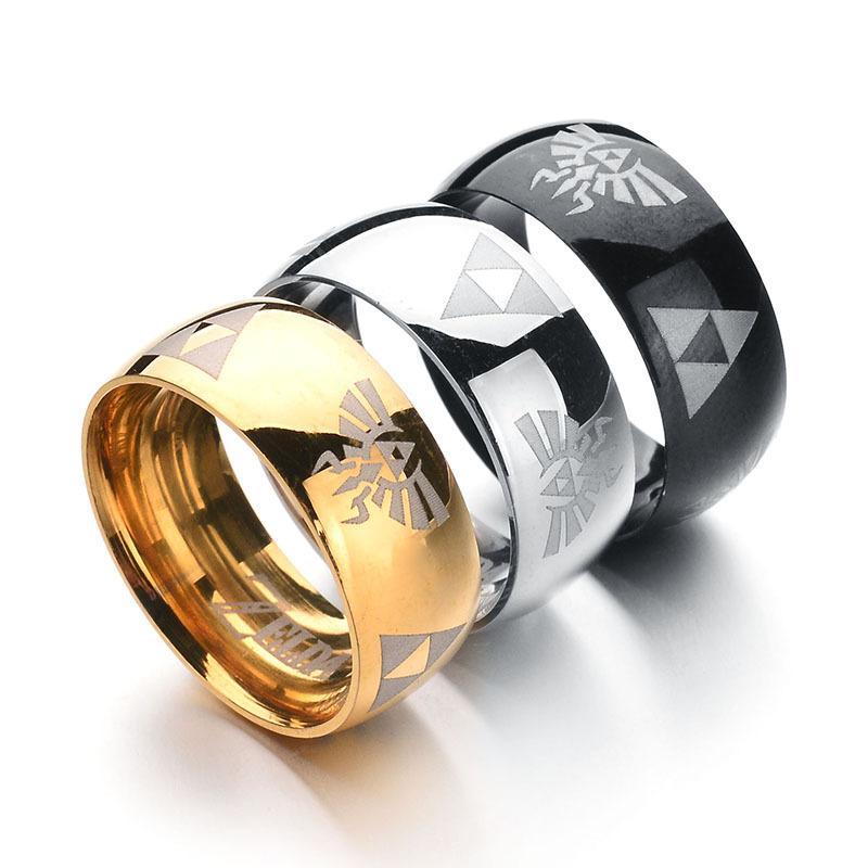 Homens titanium aço inoxidável arco triângulo zelda símbolo dos desenhos animados anel