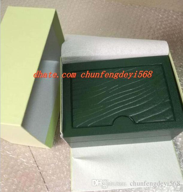 Ücretsiz kargo Yeni Lüks Erkek Kutusu Orijinal Marka Yeşil Kutuları Kağıtları Adamlar Kadınlar Için Kitapçık Kart Hediye ...