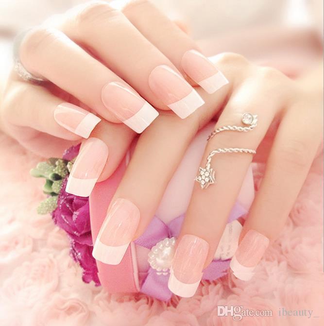 24 조각 패션 라이트 핑크 Office 허위 네일 아트 팁 가짜 손톱 장식 패치 매니큐어 팁 액세서리 매일 사용