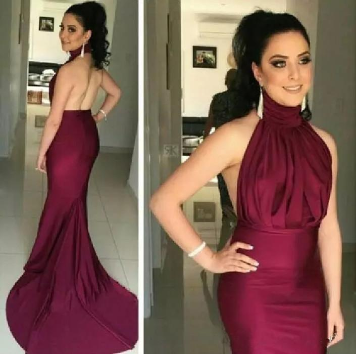 2017 Burgundy Halter High Neck Mermaid Elastic Silk like Satin Evening Dresses Long Sexy Backless Pleats Formal Party Prom Gowns