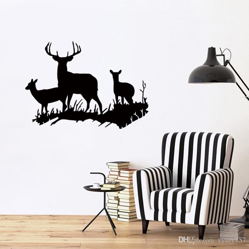 2017 Hot Sale Buck Doe Deer New Design Family Vinyl Wall Sticker Animal Home Removable Art Decal Diy