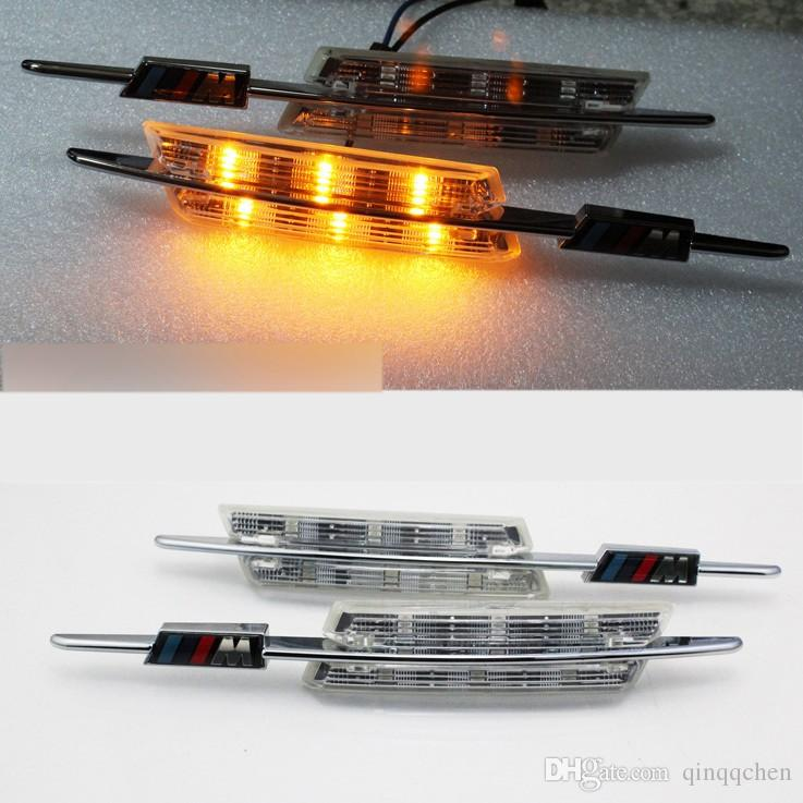 2PCS/SET LED Fender Side Turn Signals Door lamp SIDE Marker Light 12V SMD3528 Bulb Kit For BMW E60 E61 E81 E82 E87 E88 E90 E91 E92 M Logo