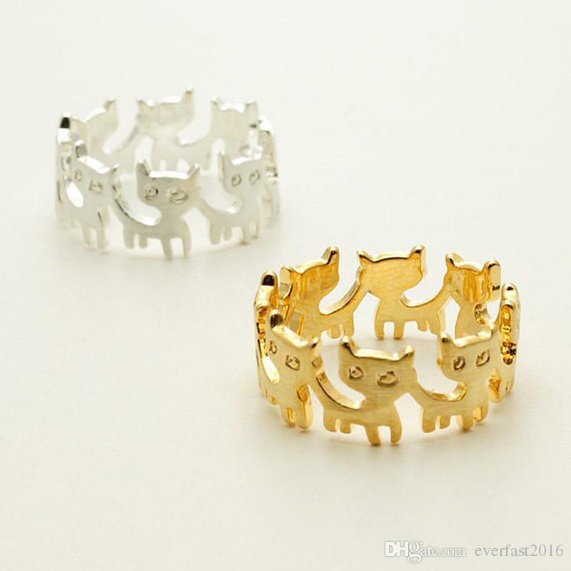 Prezzo di fabbrica Cats Rings 6 Lovely Cat Collegato Animal Rings per le donne Ragazza può mescolare il colore EFR003