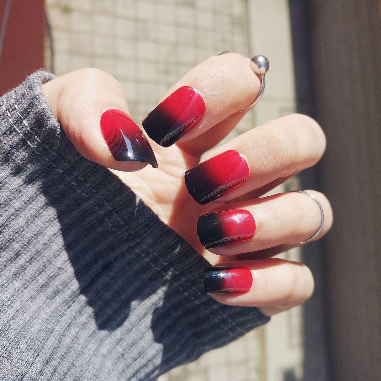 Full color nail art -  False Nail Tips Red Black Changing Temperature Thermal Gel Color Short Fake Nails Full Design Nail