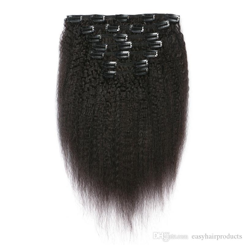 MONGOLIAN Kinky Straight Clip Human Hair Extensions 7pcs Lot Virgin Menschliches Clip in Haarverlängerungen G-Easy